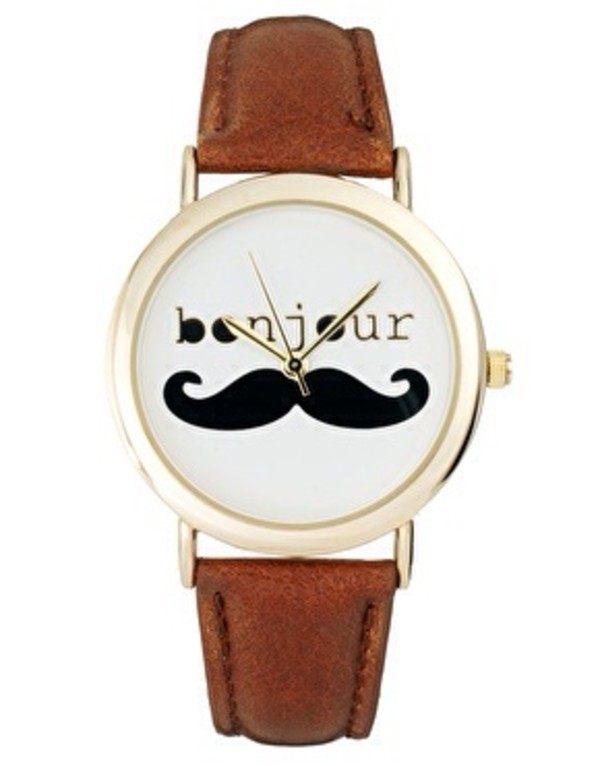 jewels watch mustache bonjour brown