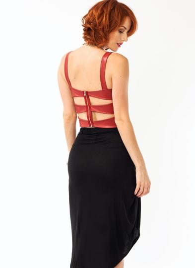Ladder-Back-Faux-Leather-Top RUST BLACK - GoJane.com