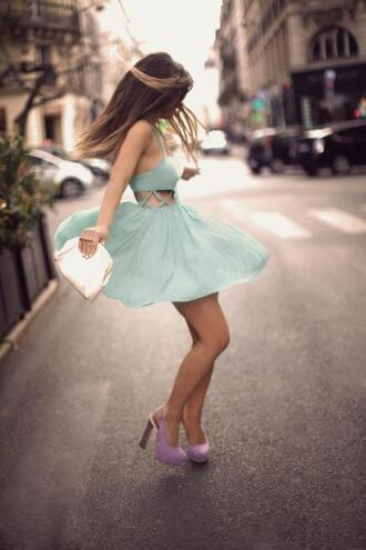 pastel blue dress cut-out lavender shoes shoes dress pastel light blue slingbacks clutch criss cross lavender tumblr clothes mint dress mint baby blue hipster