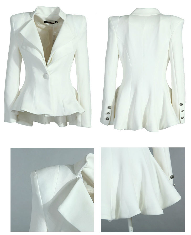 Women White Black Casual Suit One Button Blazer Jacket Swallowtail Style Hot-in Basic Jackets from Apparel & Accessories on Aliexpress.com