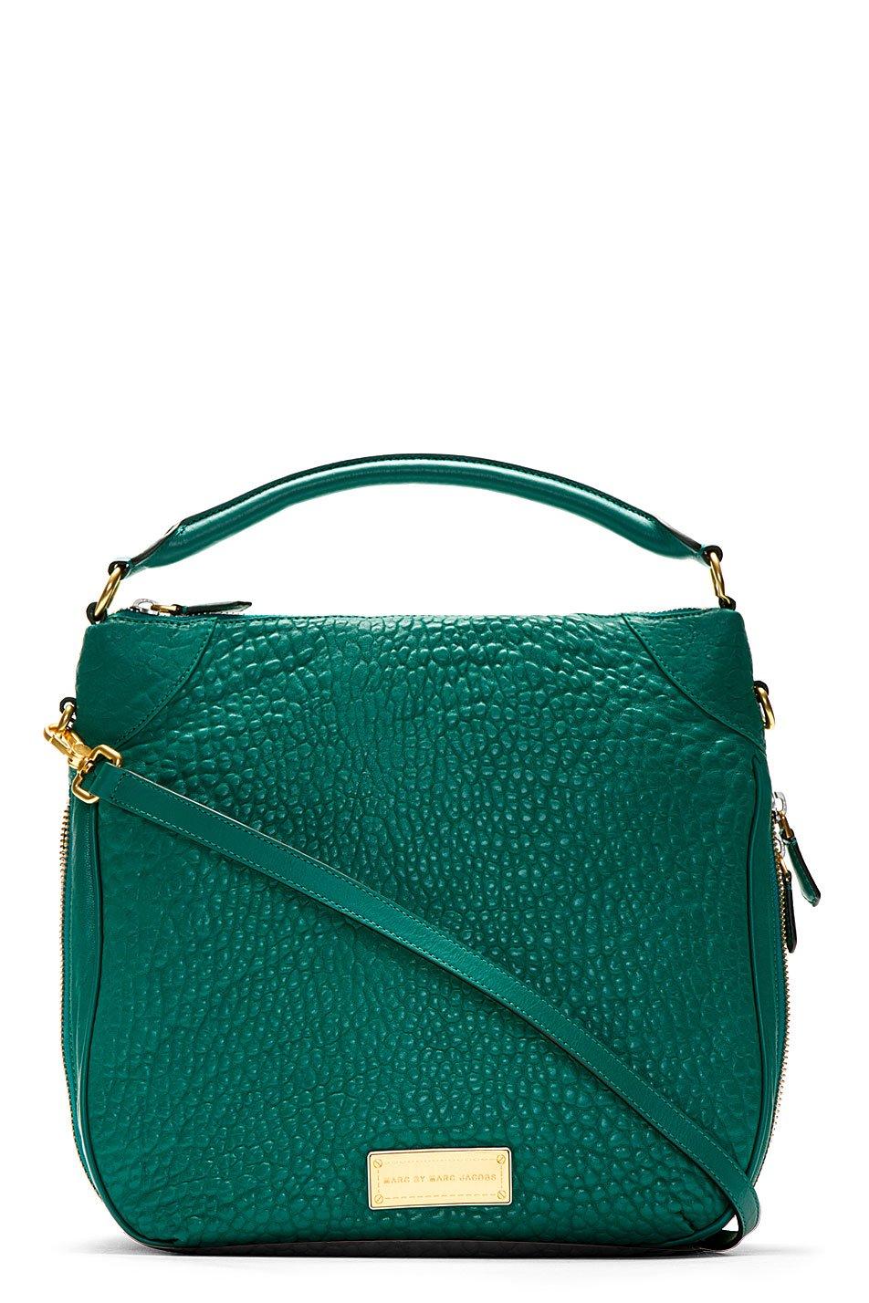 marc by marc jacobs green pebbled leather shoulder bag