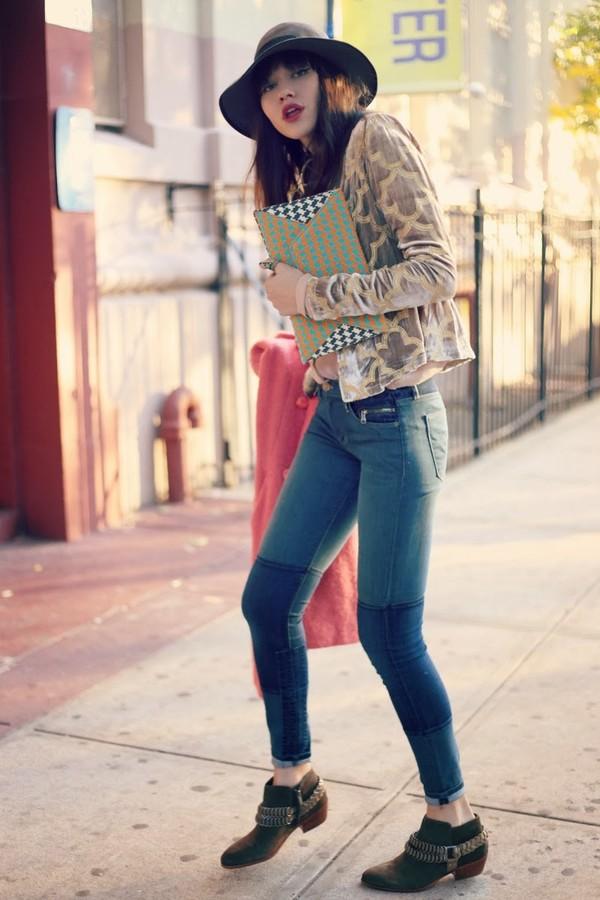 natalie off duty jacket coat jeans blouse bag jewels sunglasses shoes hat