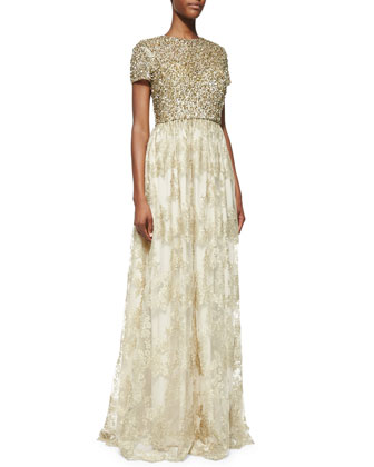 Badgley Mischka Collection Short-Sleeve Sequin-Bodice Gown