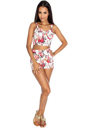 Floral Denim Effect High Waisted Shorts