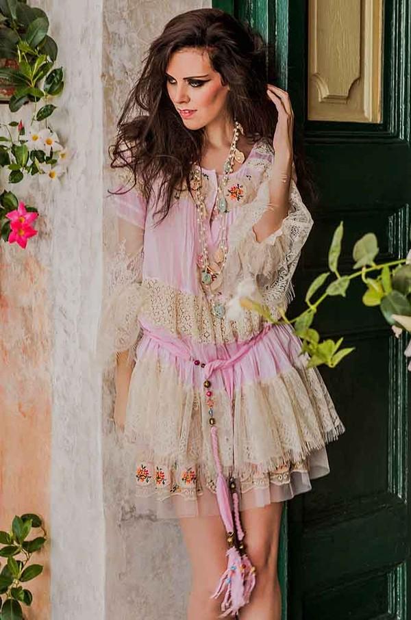 dress pink lace dress shabby chic bohemian boho