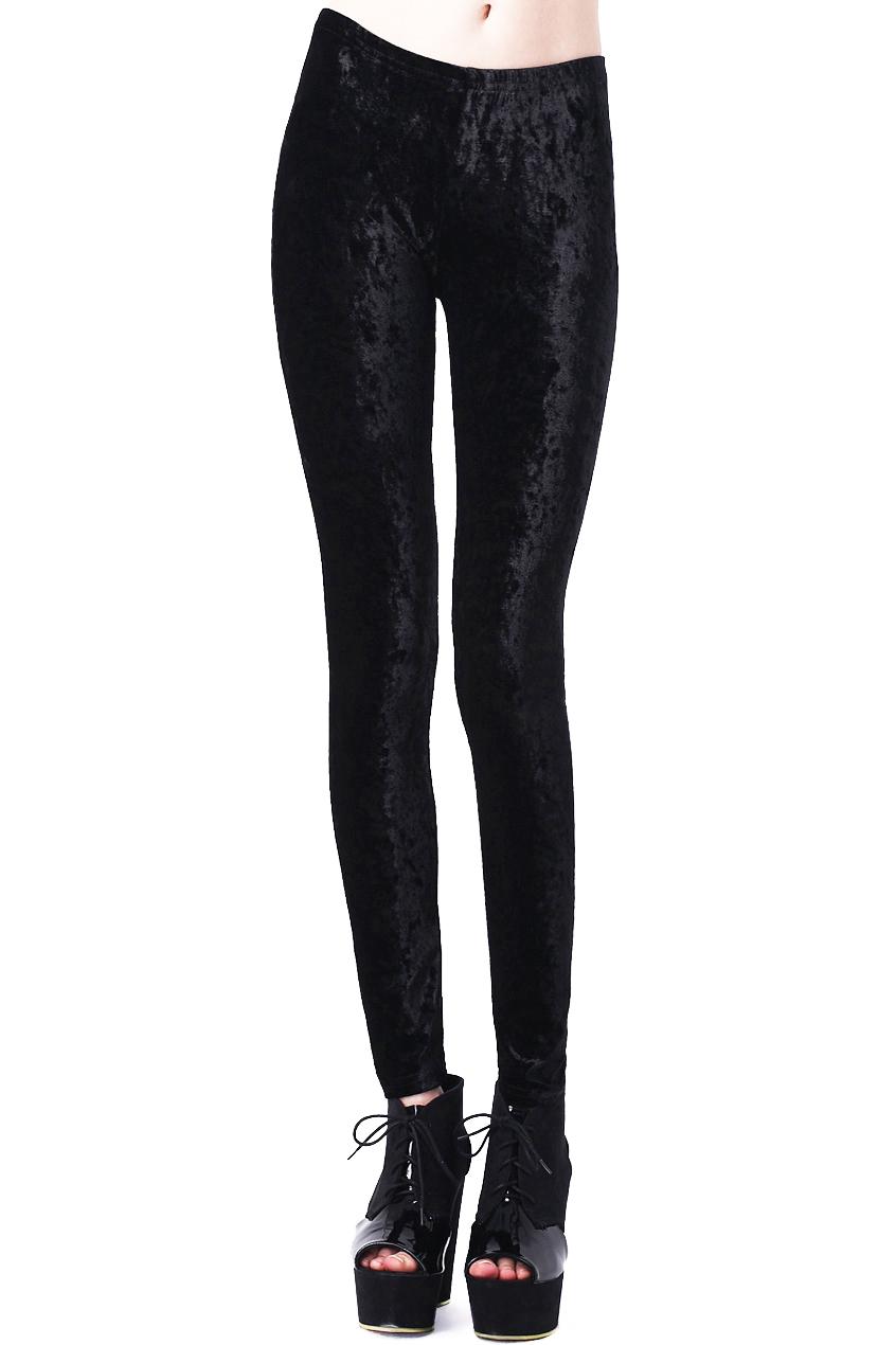 ROMWE | ROMWE Classic Gold Soft Velvet Solid Black Leggings, The Latest Street Fashion
