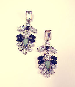 Statement Rhinestone Leaf Drop Earrings Vintage Gold Jewellery Chandelier Jewel   eBay