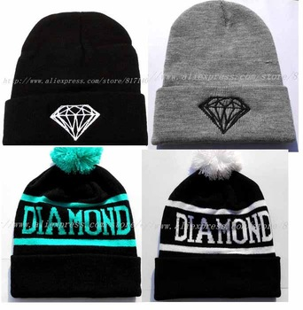 5 STYLES 2013 NEW FASHION  DIAMOND BEANIE HAT KNIT WOOL WINTER WARM HAT FREE SHIPPING GOOD QUALITY FOR MEN OR WOMEN-in Skullies & Beanies from Apparel & Accessories on Aliexpress.com