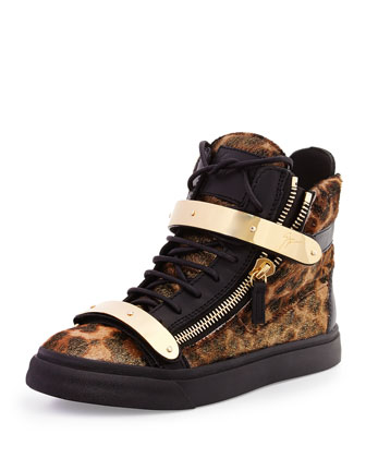 Giuseppe Zanotti Calf Hair High-Top Sneaker, Leopard