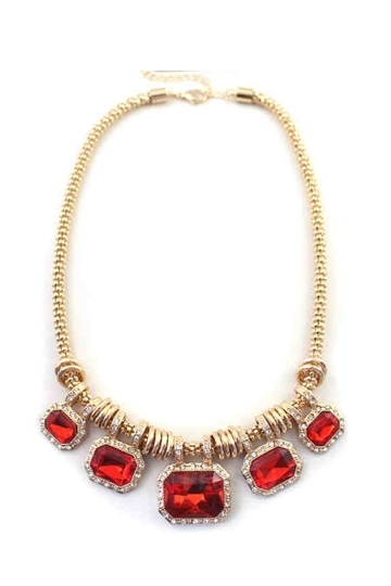 Rings Necklace with Rhinestone Pendant [FTBJ00266] - PersunMall.com