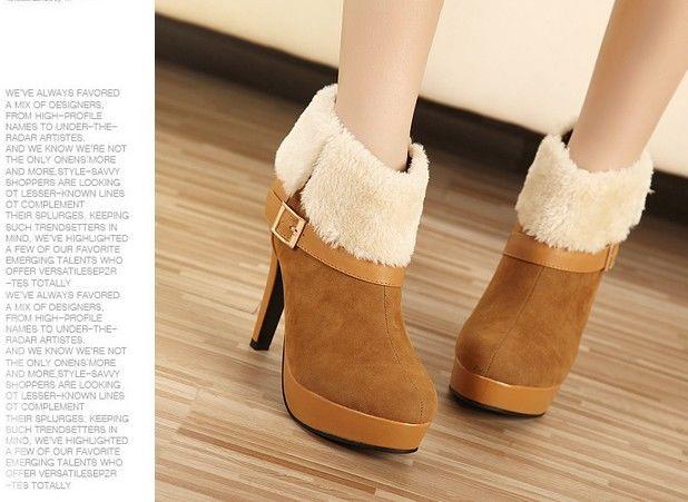 New Women's Fashion Platform High Heel Fur Ankle Boots Sexy OL Pumps Warm Shoes | eBay