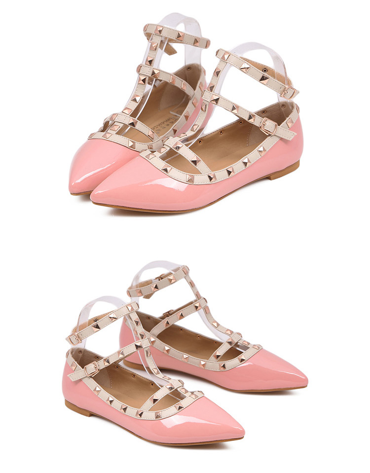 Pink Ankle Strap Flats with Studs [FABI1662] - PersunMall.com