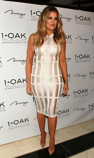 dress metallic bodycon dress khloe kardashian pumps sheer shoes