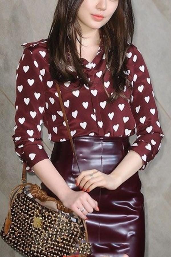 blouse kisses blouse red blouse red fashion blouse shirt pretty blouse clothes clothes