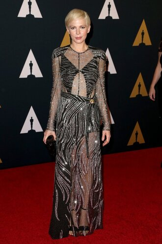 dress gown michelle williams prom dress see through see through dress sandals