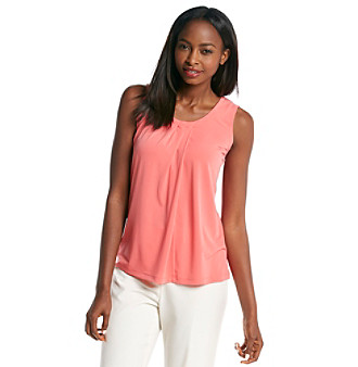 Product: Anne Klein® Sleeveless Pleat Neck Top