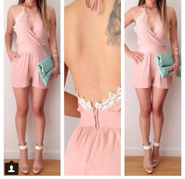 romper pink lace cute clothes summer outfits stylish fashion