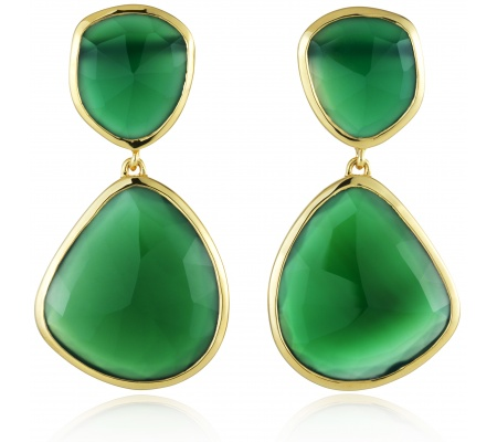 Siren Cocktail Earrings in 18ct Gold Plated Vermeil on Sterling Silver with Green Onyx | Jewellery by Monica Vinader