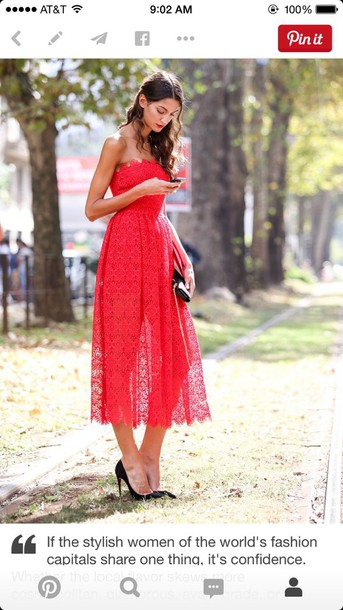 dress red red dress lace dress strapless dress