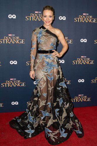 dress asymmetrical asymmetrical dress rachel mc adams long prom dress long dress see through dress
