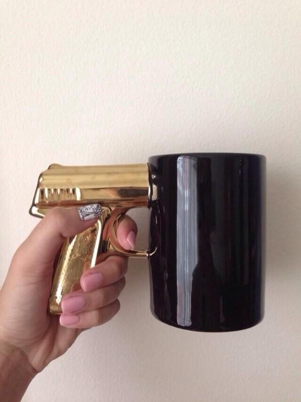 coffee houseware gun gold gun black thug life mug home accessory