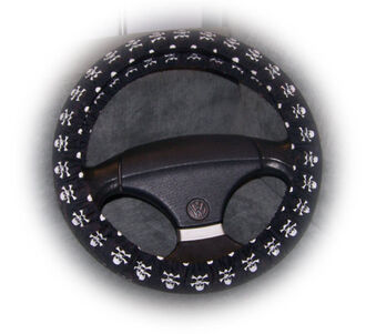 home accessory steering wheel cover skull black and white pirate car accessories goth emo crossbones jeep