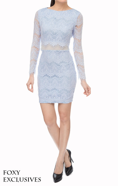 Mod Lace Shift Dress in Blue - Online Fashion Boutique in Singapore   Foxy Fame