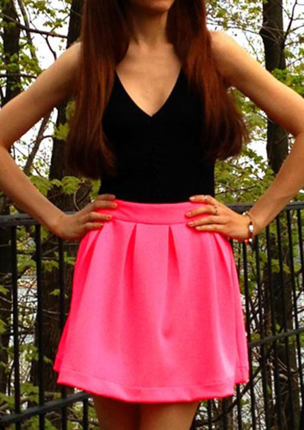 skirt hot pink skirt scuba skirt pink skirt icifashion ici fashion tank top