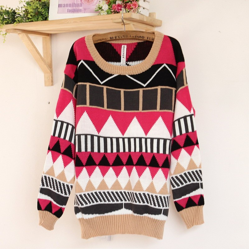 Red Sweater - Geometrical Pattern Color-blocked Sweater | UsTrendy