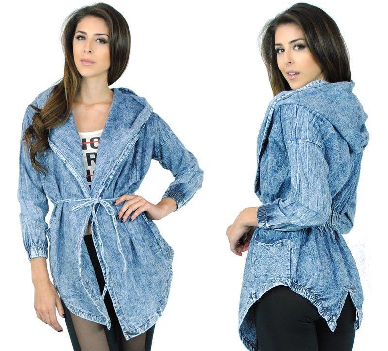 Loose Fit Acid Wash Denim Jean Material Draped Front Hooded Drop Shoulder Jacket | eBay