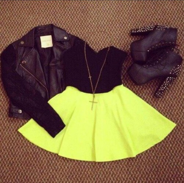 jacket black jacket neon skater skirt black  high heels leather jacket shorts top skirt