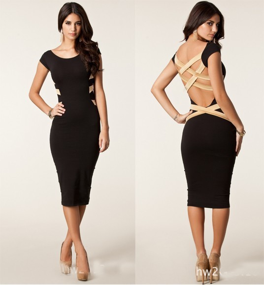 Plus Size 2014 New European Fashion Women Sexy Knee Length Black Bodycon Bandage Dress Celebrity Casual Dress 9050-in Dresses from Apparel & Accessories on Aliexpress.com