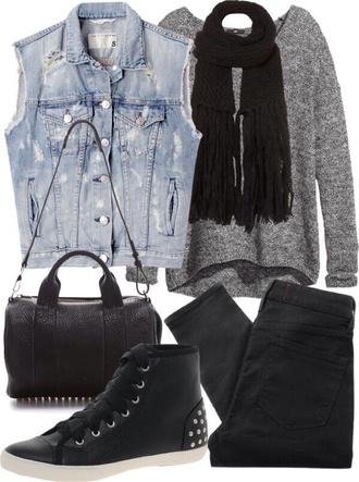 jacket denim vest denim vest ripped sweater oversized sweater scarf black scarf black shoes shoes bag pants