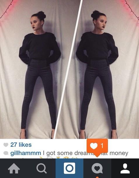 sweater cripped sweater crop tops black sweater grey sweater instagram
