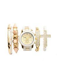 Glam Watch, Polka Dot Watch, Chain Watch Set, Cuff Watch: Charlotte Russe