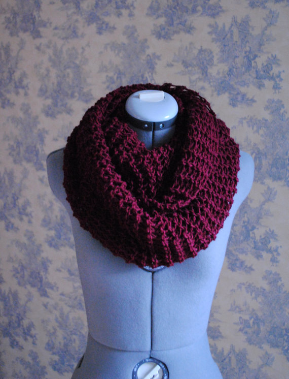 DEEP BURGUNDY Infinity Scarf by soliknits on Etsy