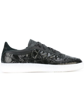 women texture sneakers leather black shoes