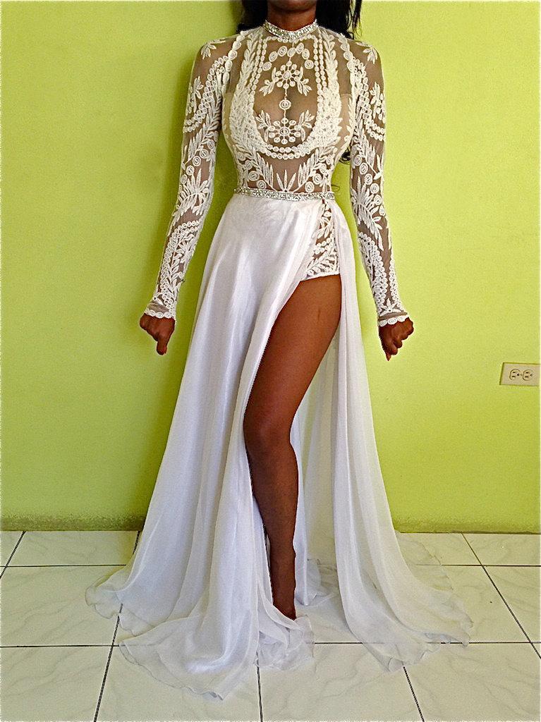 Custom White Embroidery Lace Sheer Bodysuit Amp Crystal Belt
