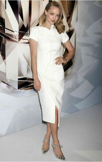 dress midi dress white dress amanda seyfried pumps shoes