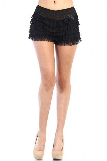 LoveMelrose.com From Harry & Molly | Lace Short Pants - Black