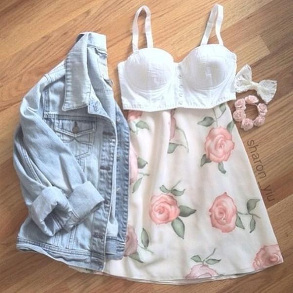 dress flowers flowers flowered skirt summer spring bustier white bustier denim denim jacket