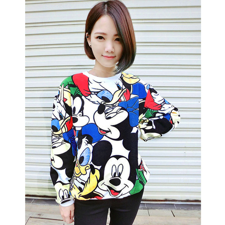 Women's Mickey mouse crewneck sweatshirt thickening fleece winter wear Cute-in Hoodies & Sweatshirts from Apparel & Accessories on Aliexpress.com