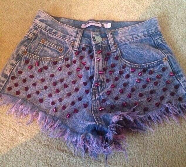 Bitching And Junkfood Denim Pink Studded Shorts Small   eBay