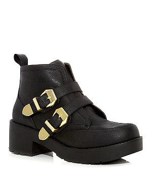 Black Chunky Double Strap Biker Boots