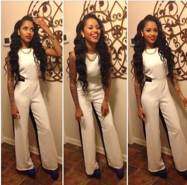 pants jumpsuit white jumpsuit black white
