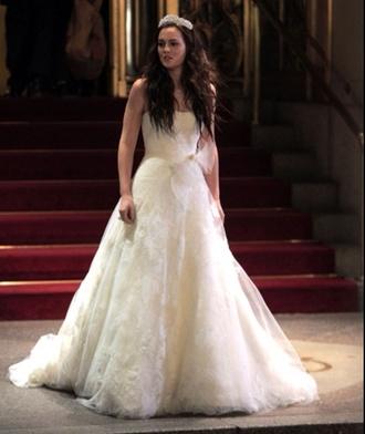 dress white dress wedding dress wedding clothes gossip girl blair waldorf blair waldorf leighton meester lovely