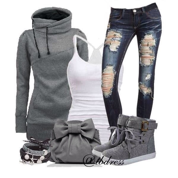 jeans holes bag sweater shoes blue jeans