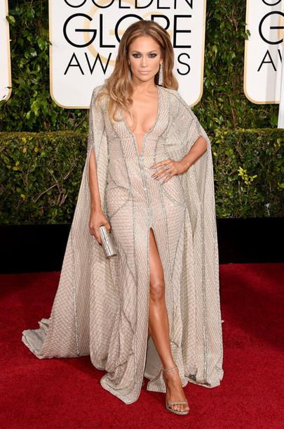 dress zuhair murad jennifer lopez slit dress Golden Globes 2015 bag jimmy choo clutch shoes