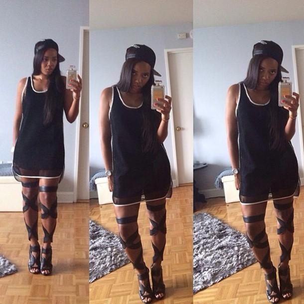 Angela Simmons tank top gladiators shoes