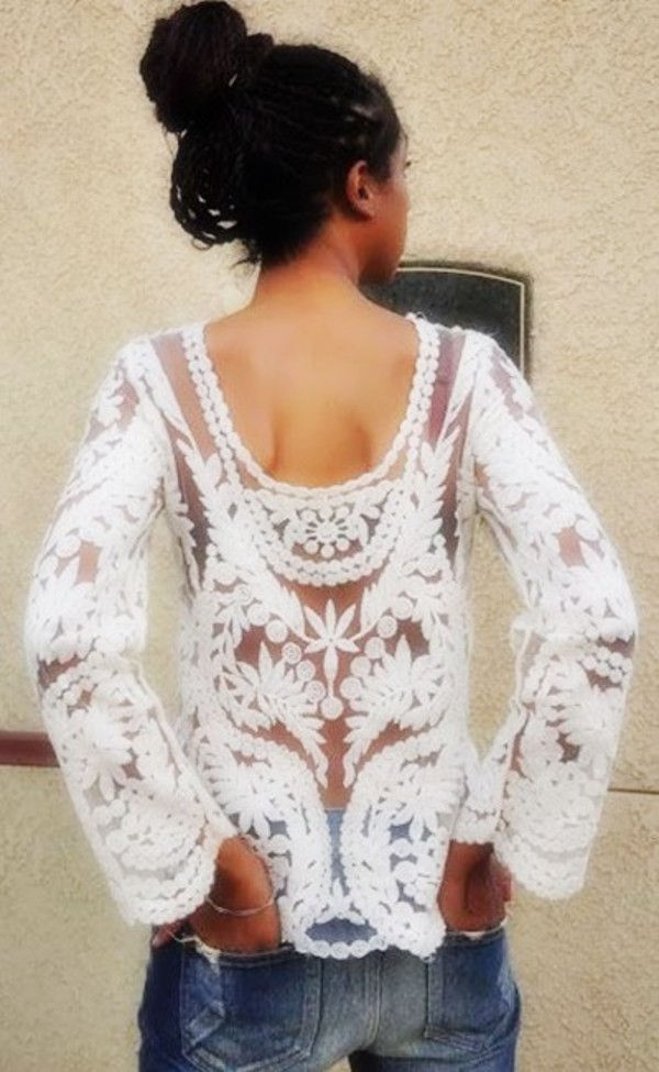 blouse white summer outfit fashion style top flowers spring opne detail details lace off-white lace dress flowers open back embroidered